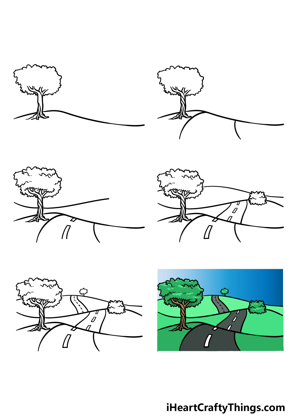 how to draw a road in 6 steps