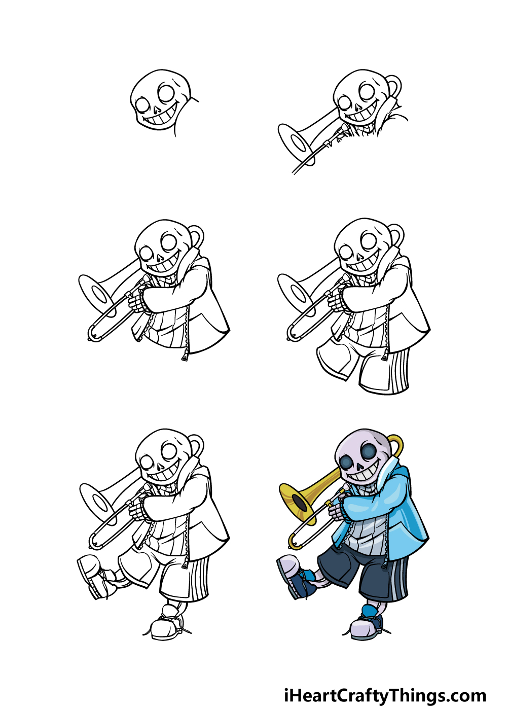 how to draw Sans in 6 steps