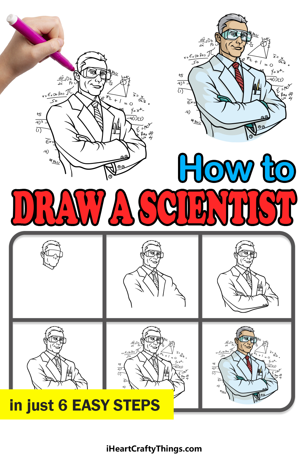 how to draw a scientist in 6 easy steps