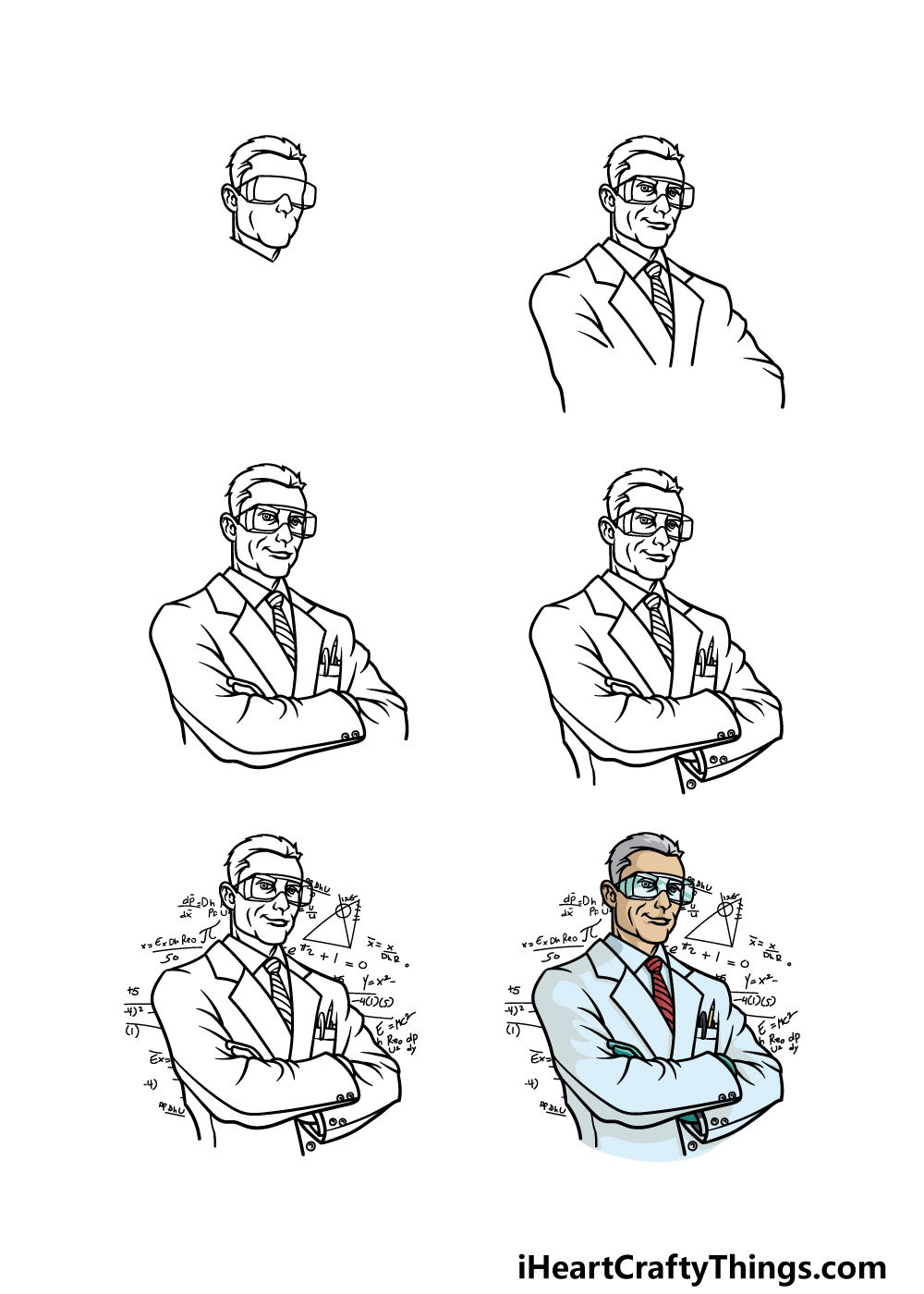 how to draw a scientist in 6 steps