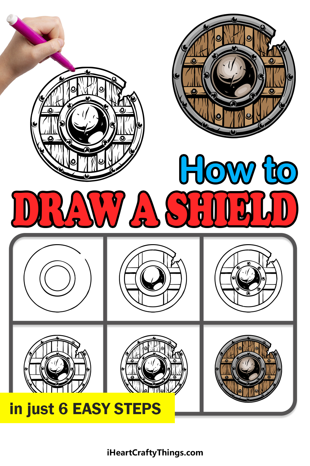 how to draw a shield in 6 easy steps