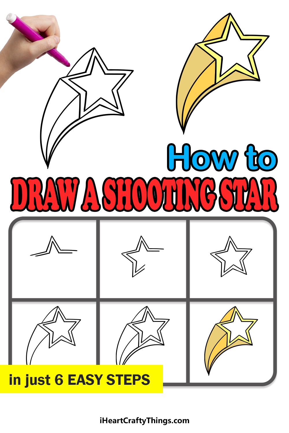 how to draw a Shooting Star in 6 easy steps