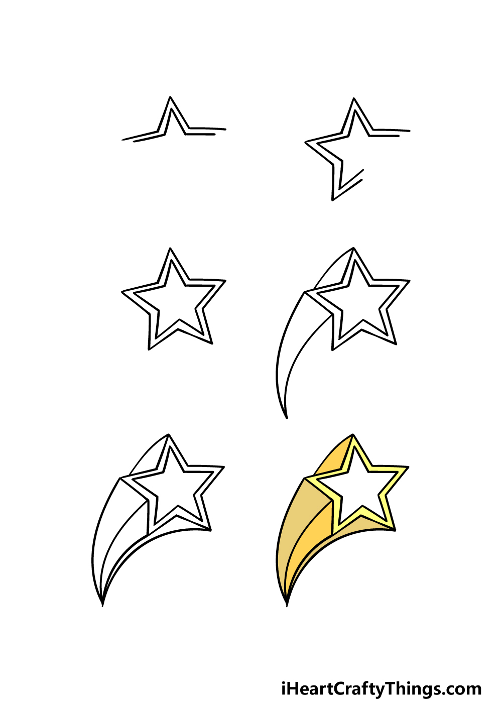 how to draw a Shooting Star in 6 steps