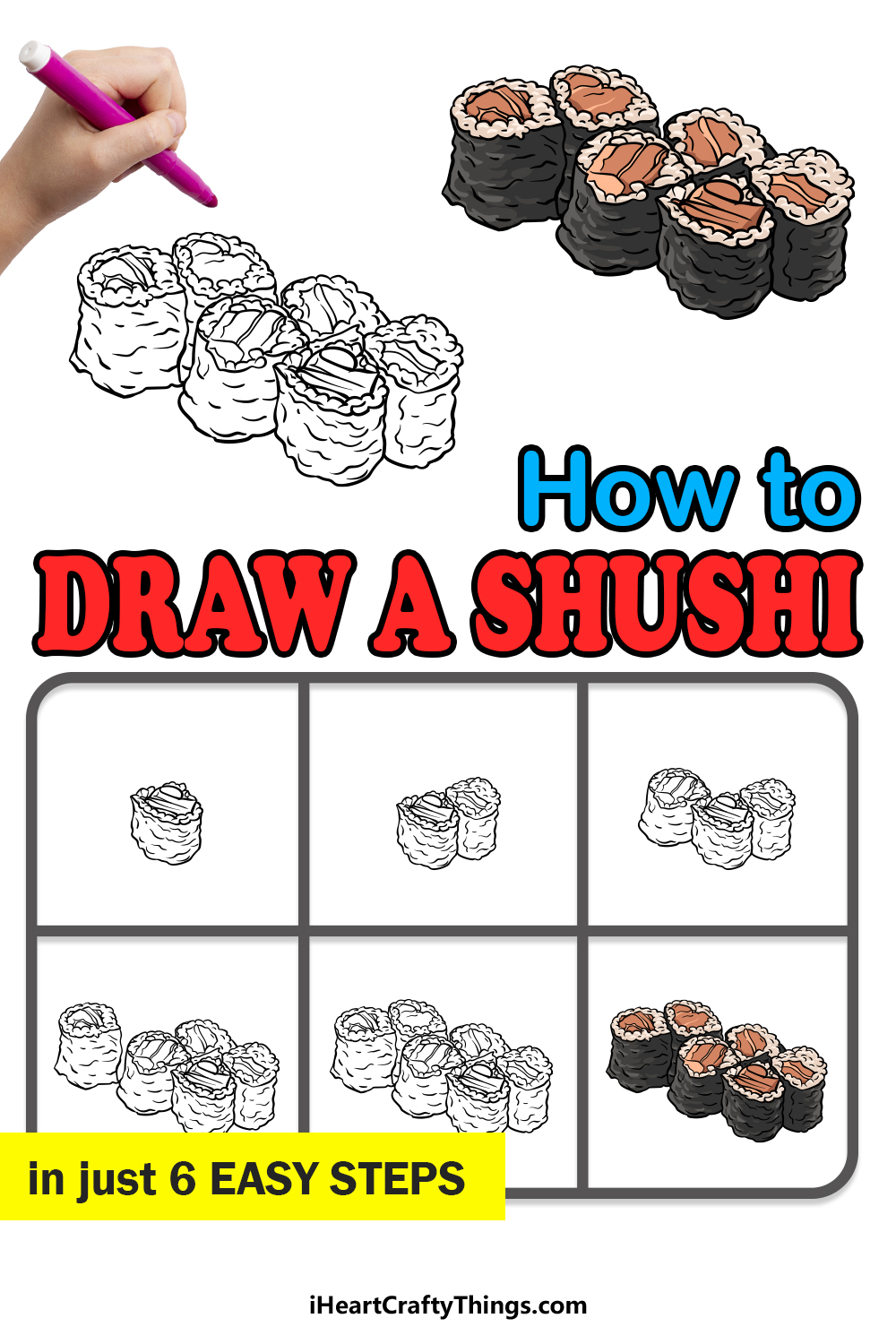 how to draw sushi in 6 easy steps
