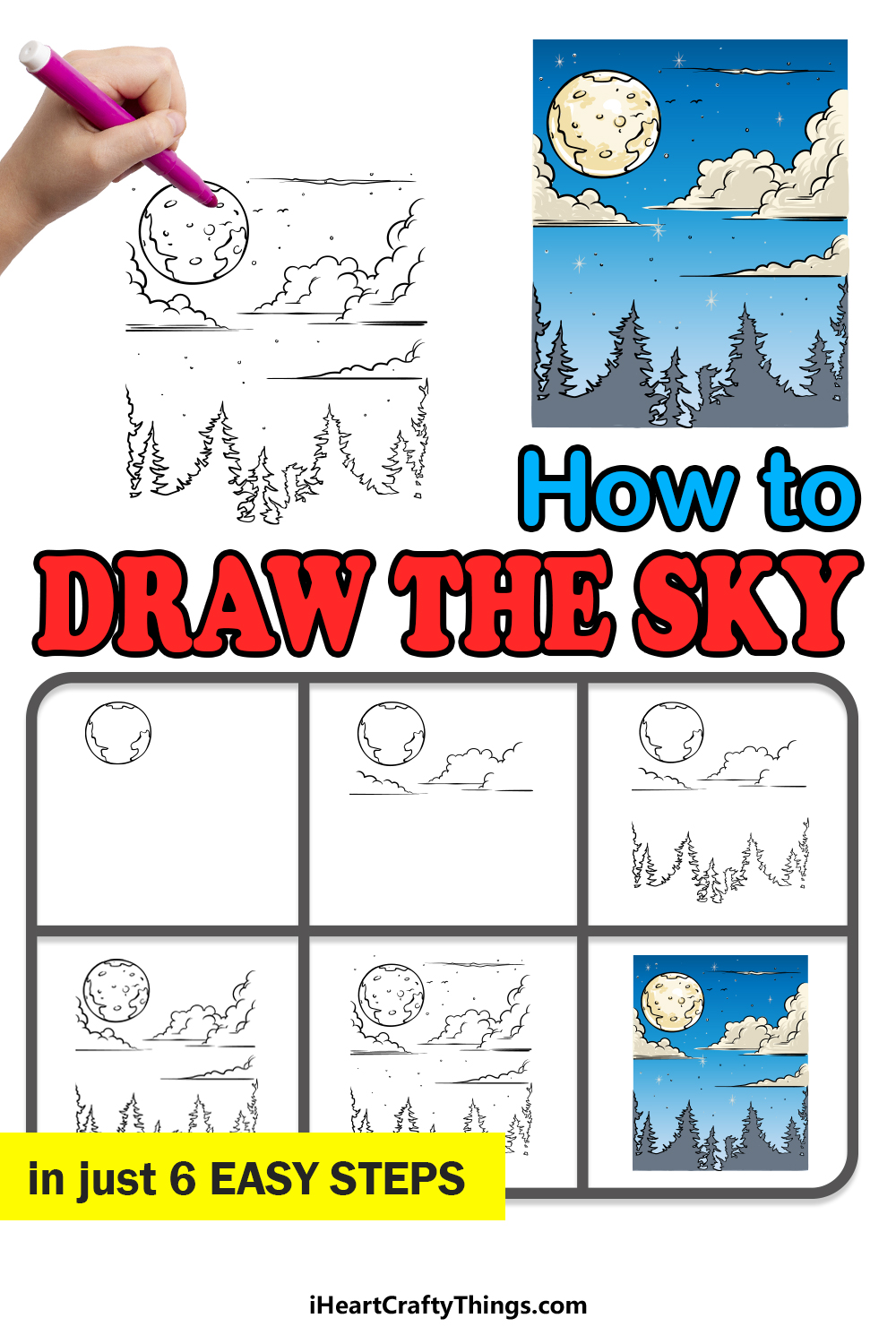 how to draw the sky in 6 easy steps