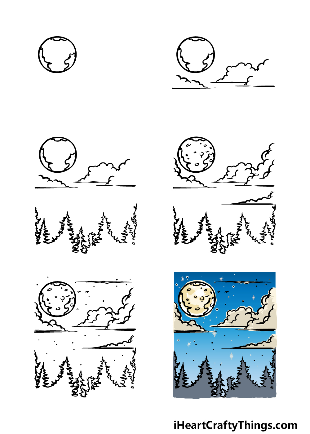 how to draw sky in 6 steps