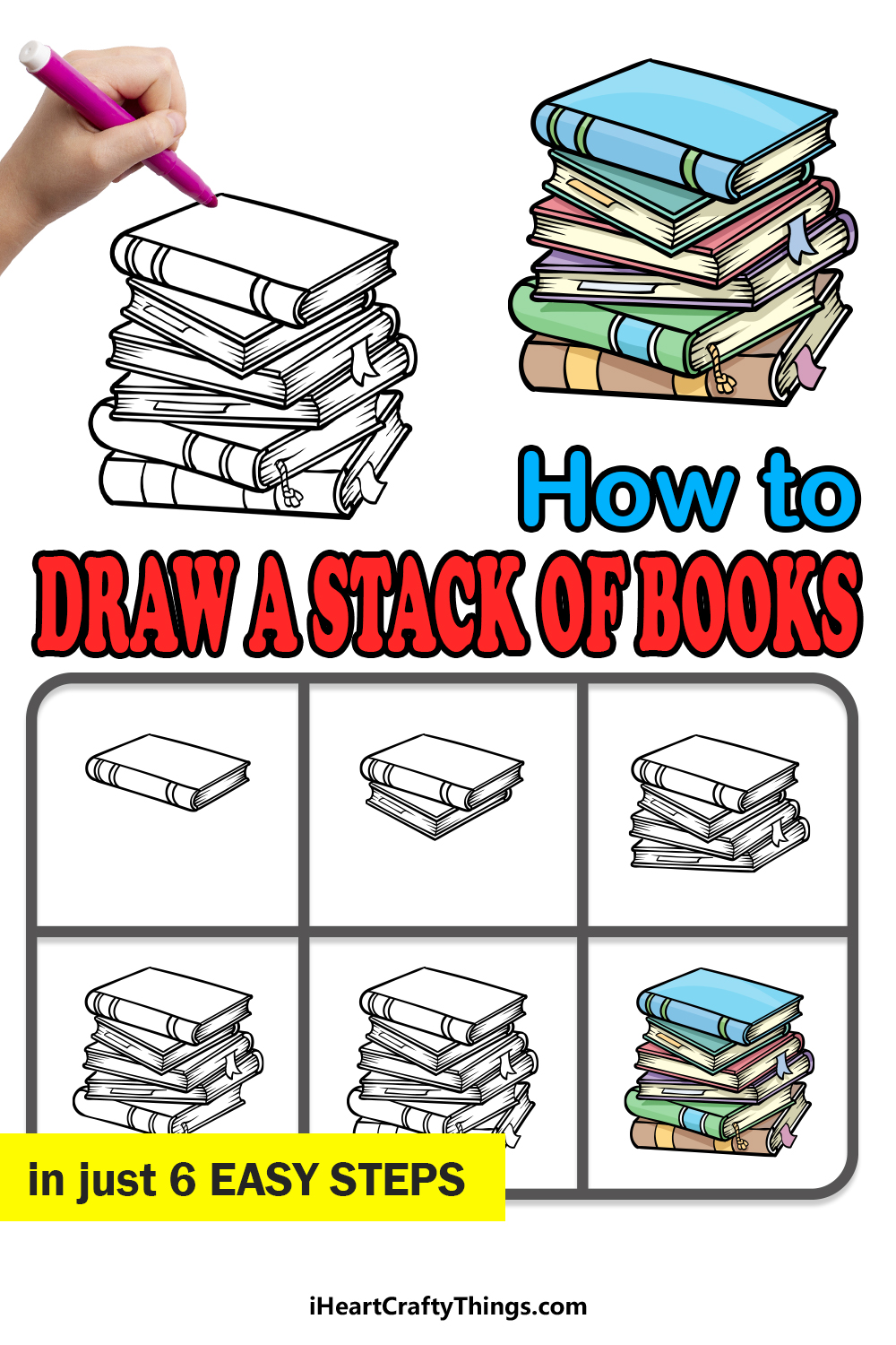 how to draw a stack of books in 6 easy steps