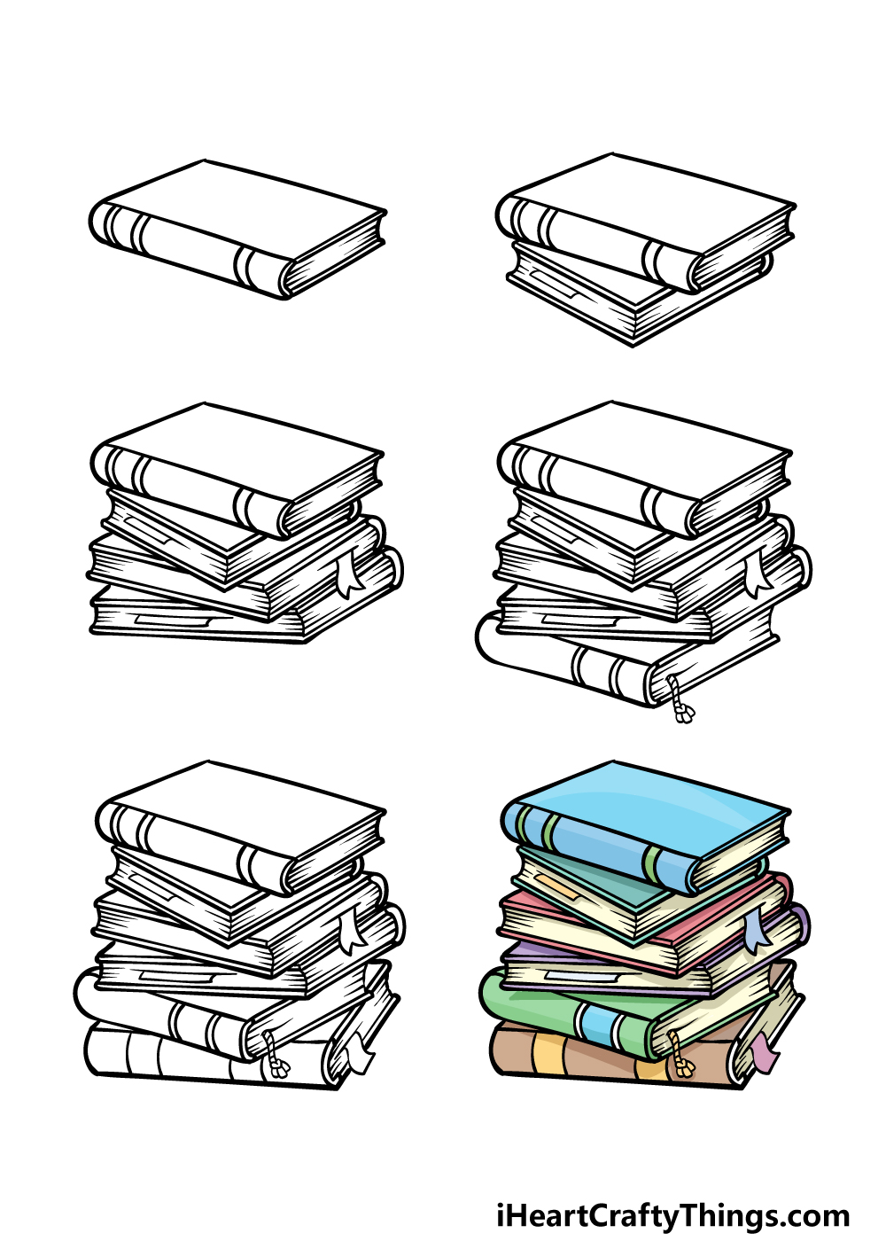 how to draw a stack of books in 6 steps