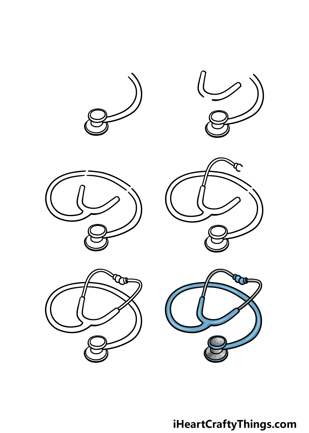 How to draw stethoscope in 6 steps