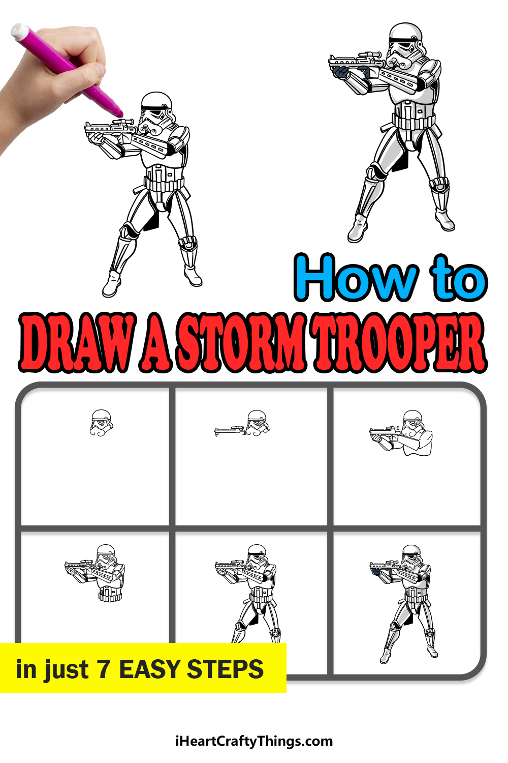 how to draw a stormtrooper in 7 easy steps