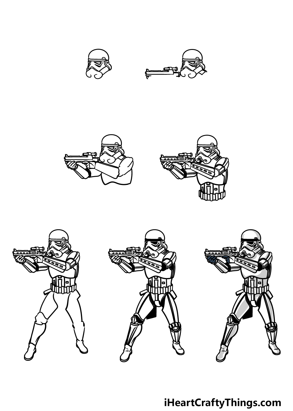 how to draw a Stormtrooper in 7 steps