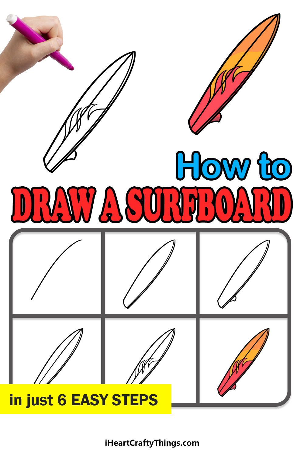 how to draw a surfboard in 6 easy steps