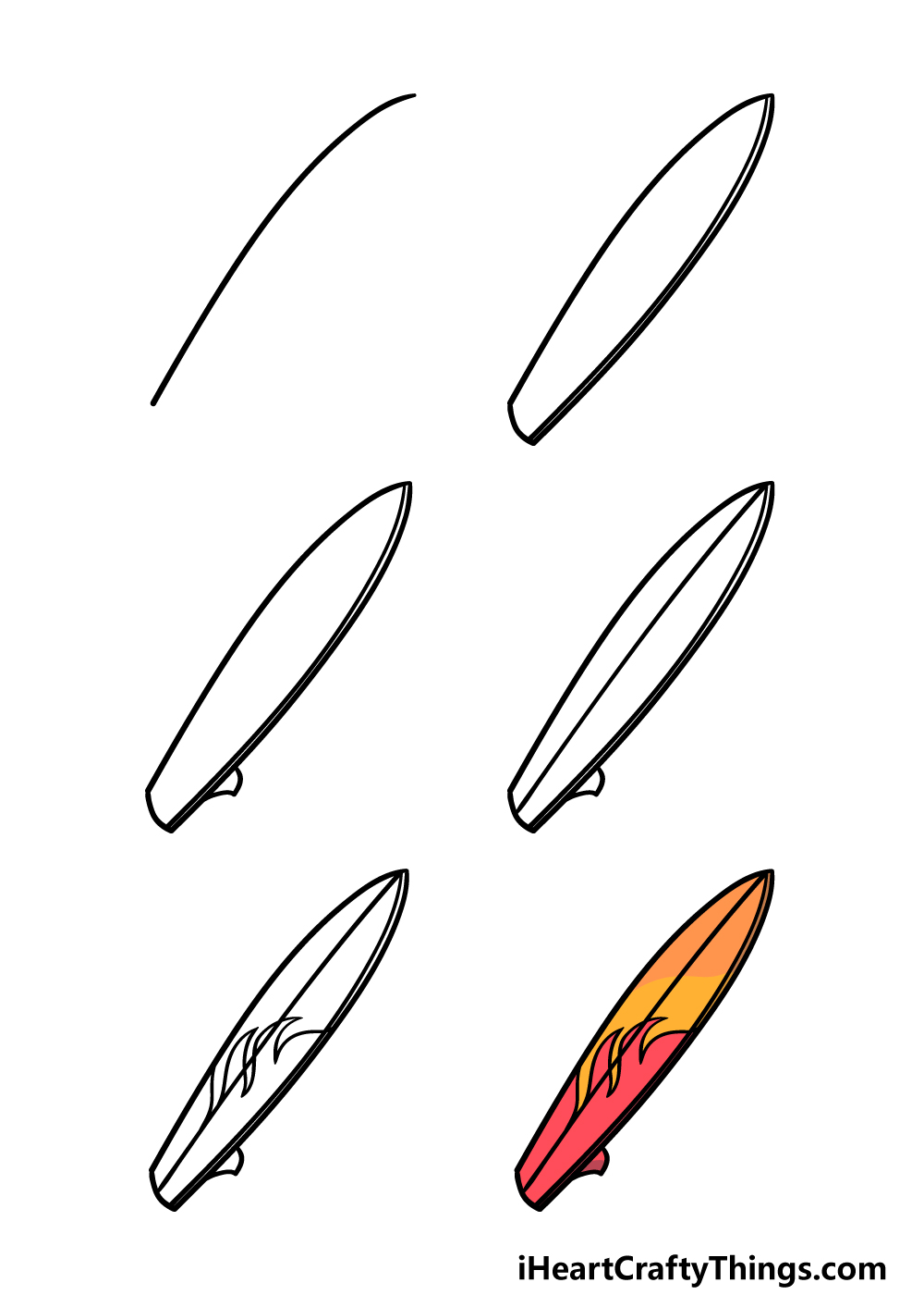 how to draw a surfboard in 6 steps