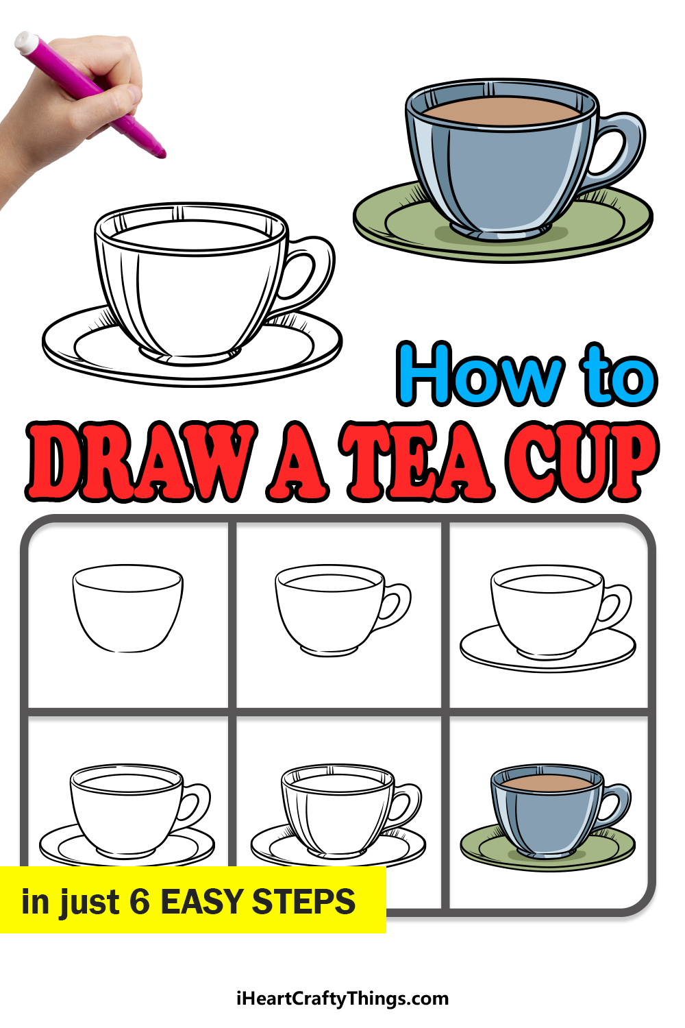 how to draw a tea cup in 6 easy steps