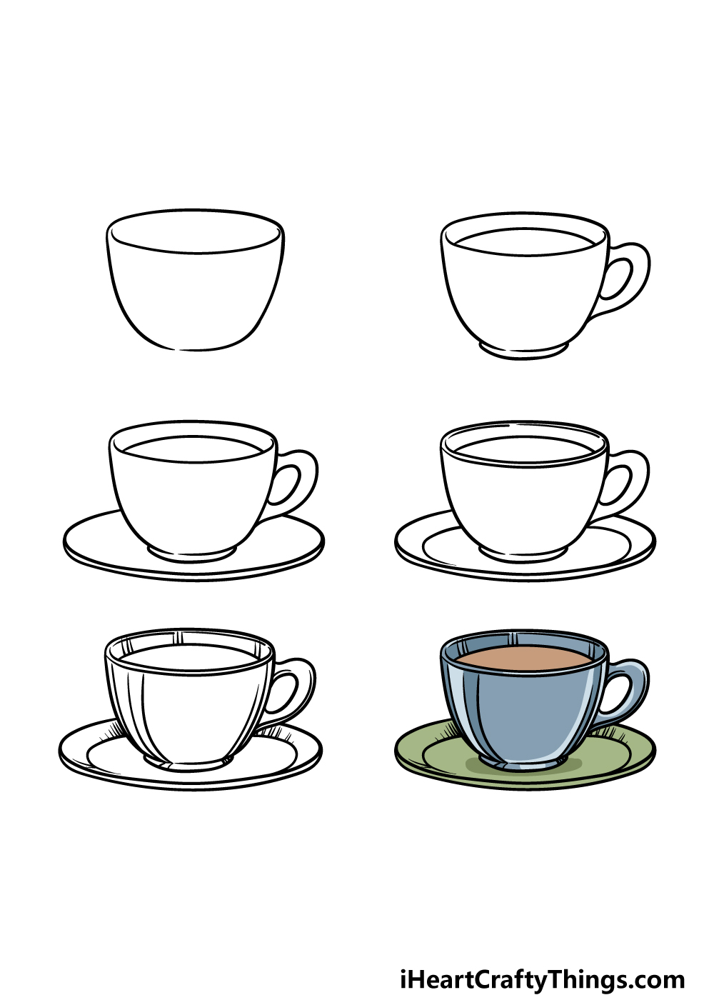 how to draw a tea cup in 6 steps