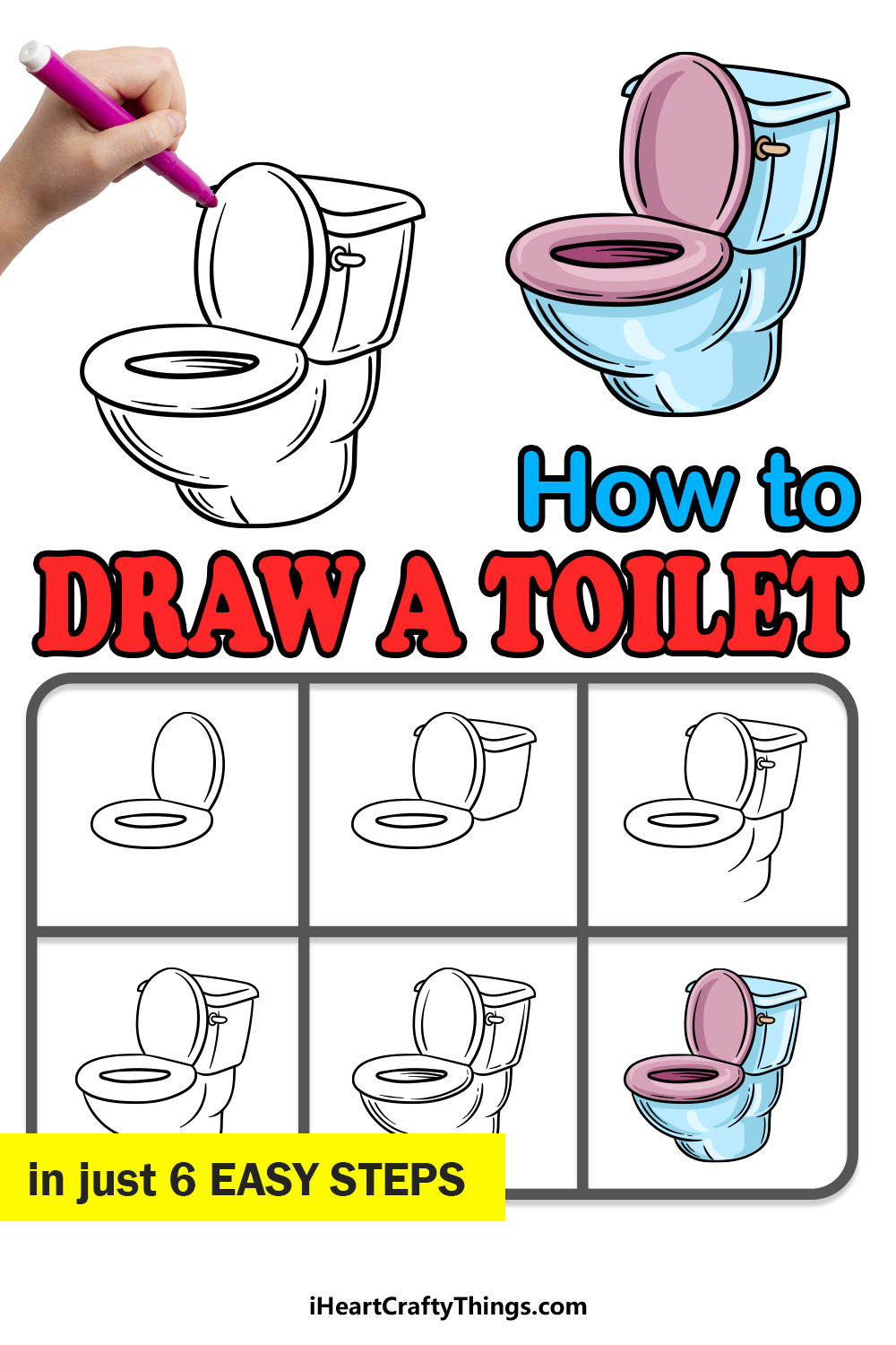 how to draw a toilet in 6 easy steps