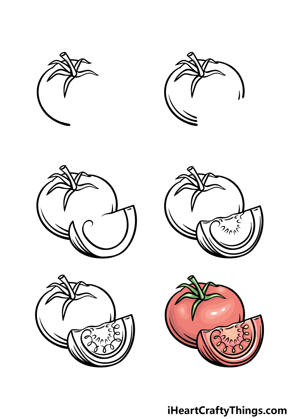 how to draw a tomato in 6 steps