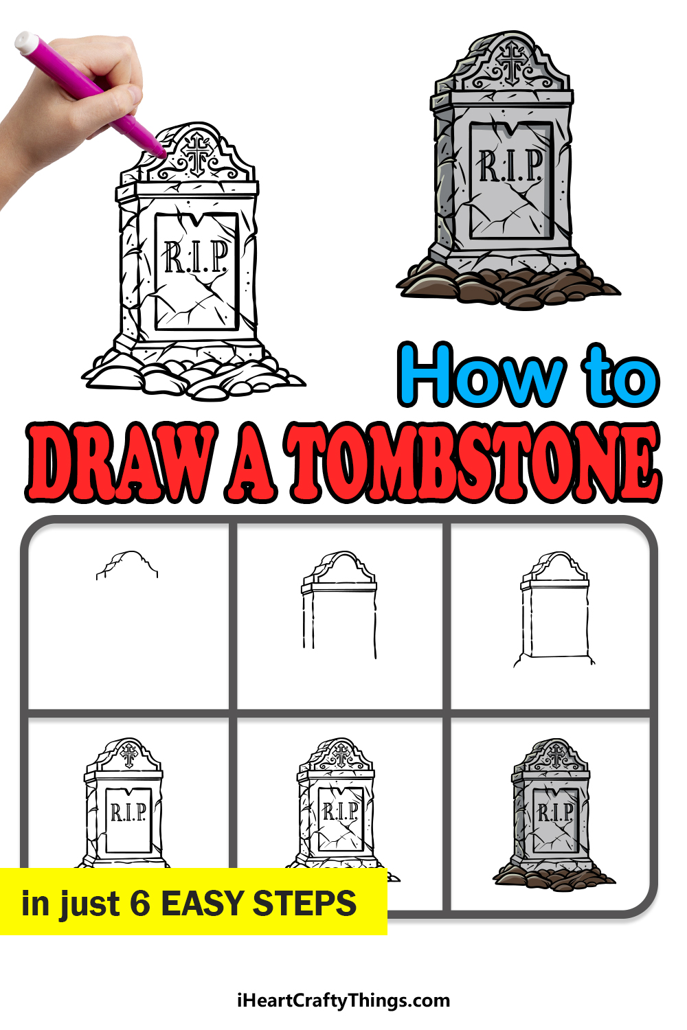 how to draw a tombstone in 6 easy steps