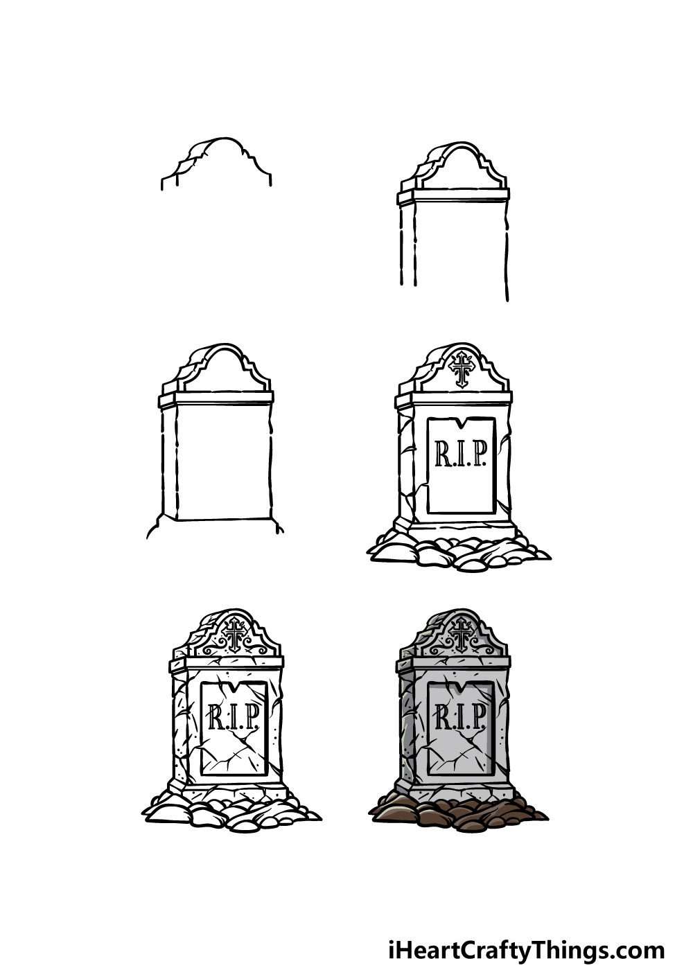 how to draw a tombstone in 6 steps