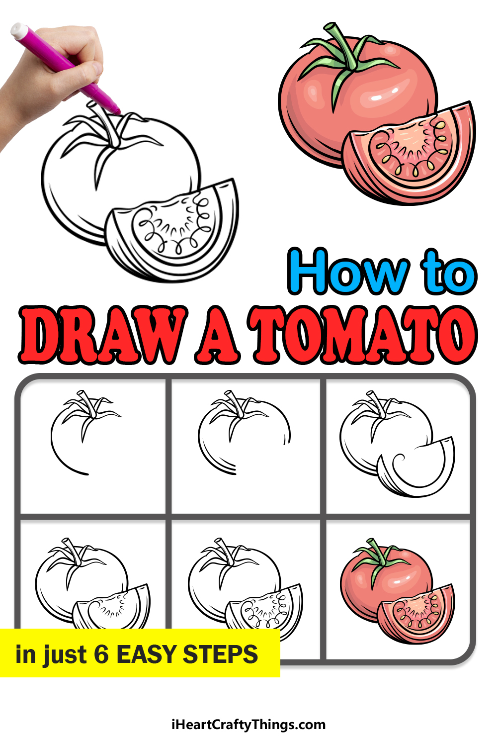 how to draw a tomato in 6 easy steps