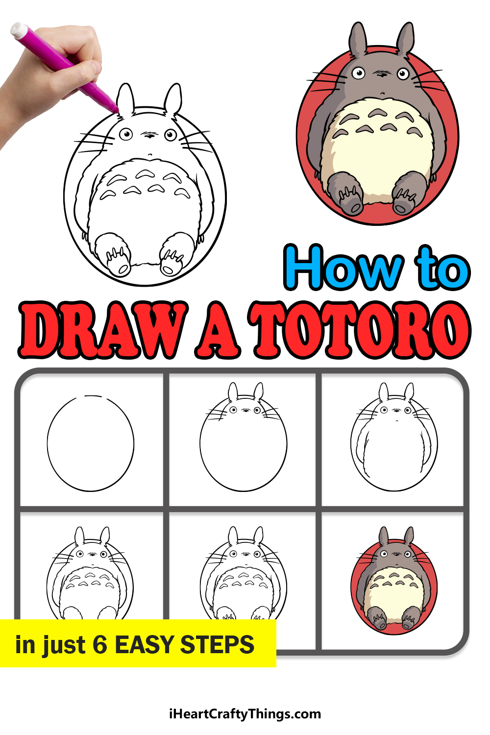how to draw Totoro in 6 easy steps