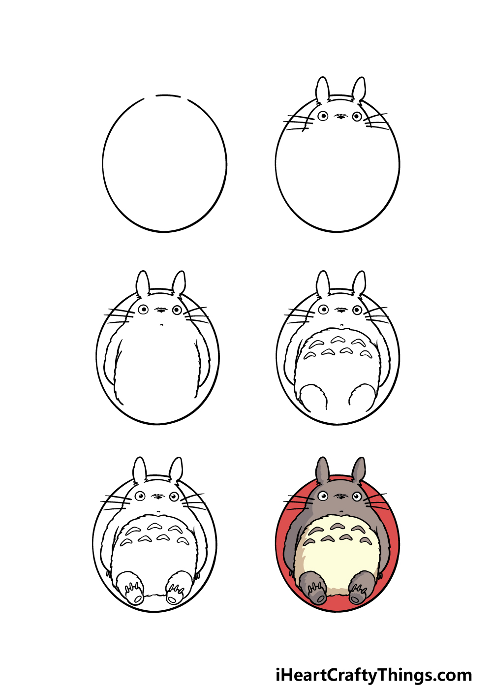 how to draw Totoro in 6 steps