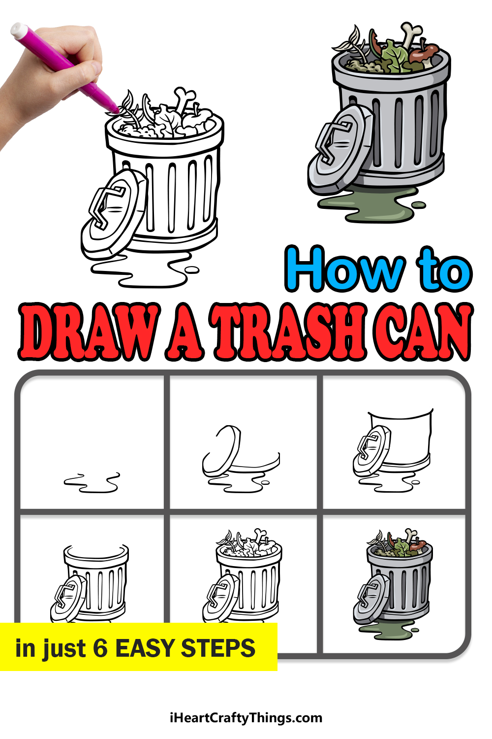 how to draw a trash can in 6 easy steps