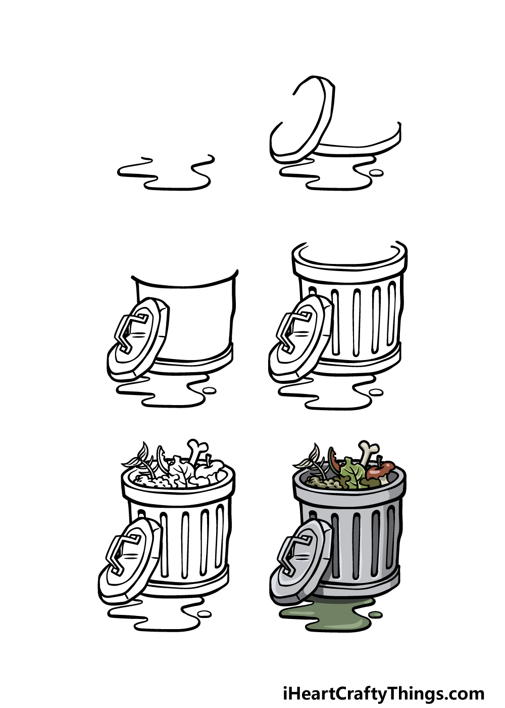 how to draw a trash can in 6 steps