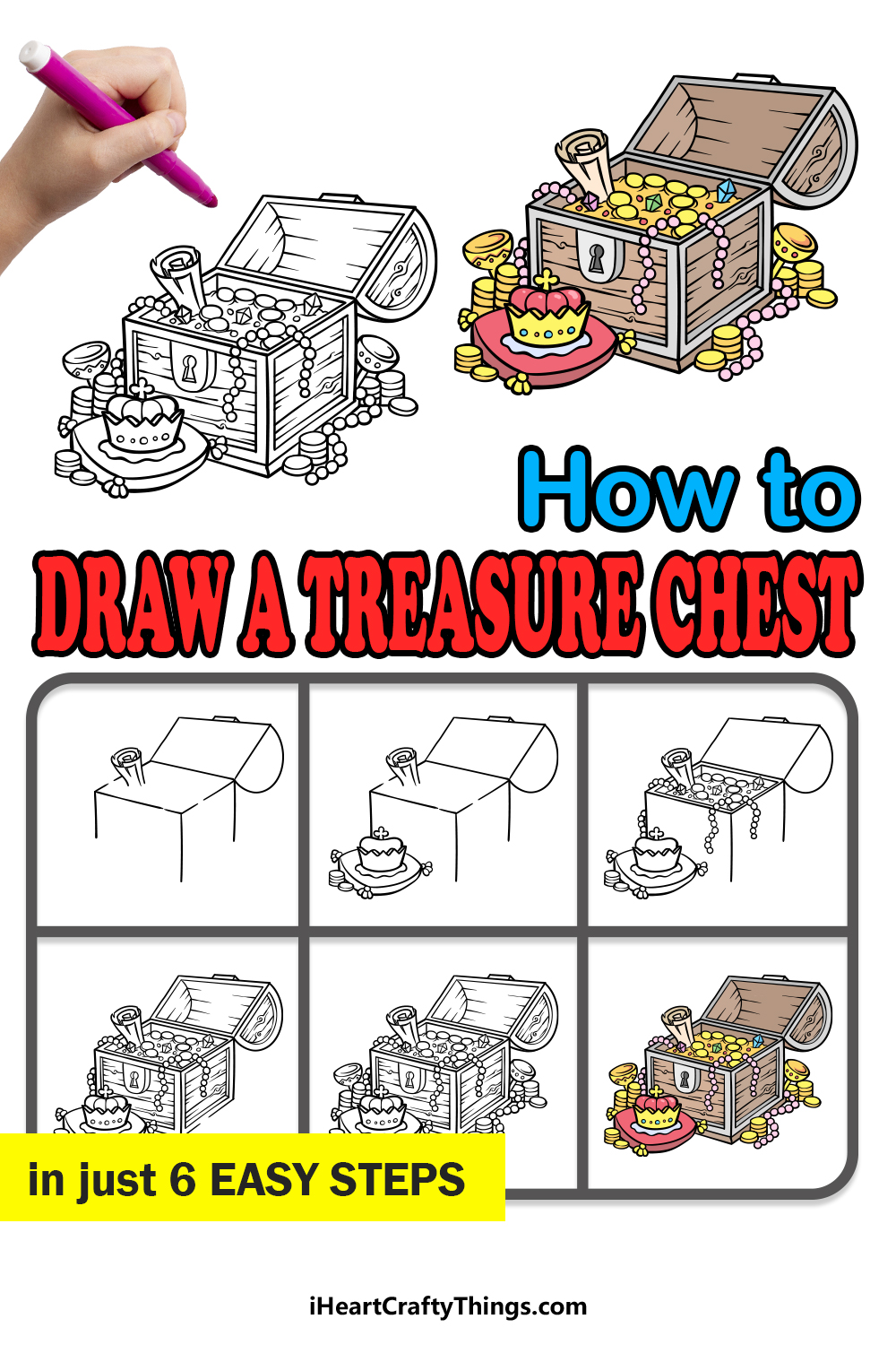 how to draw a treasure chest in 6 easy steps