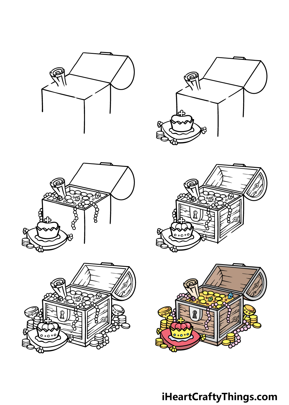 how to draw a treasure chest in 6 steps