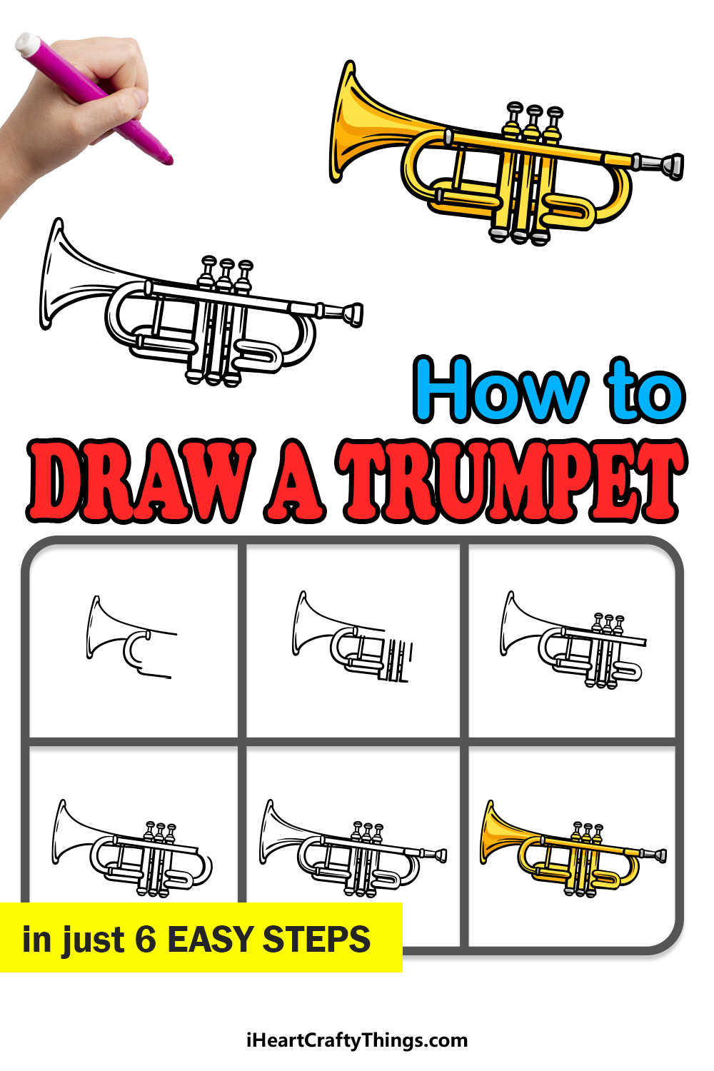 how to draw a trumpet in 6 easy steps
