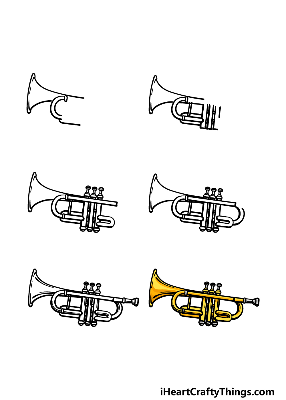 how to draw a trumpet in 6 steps