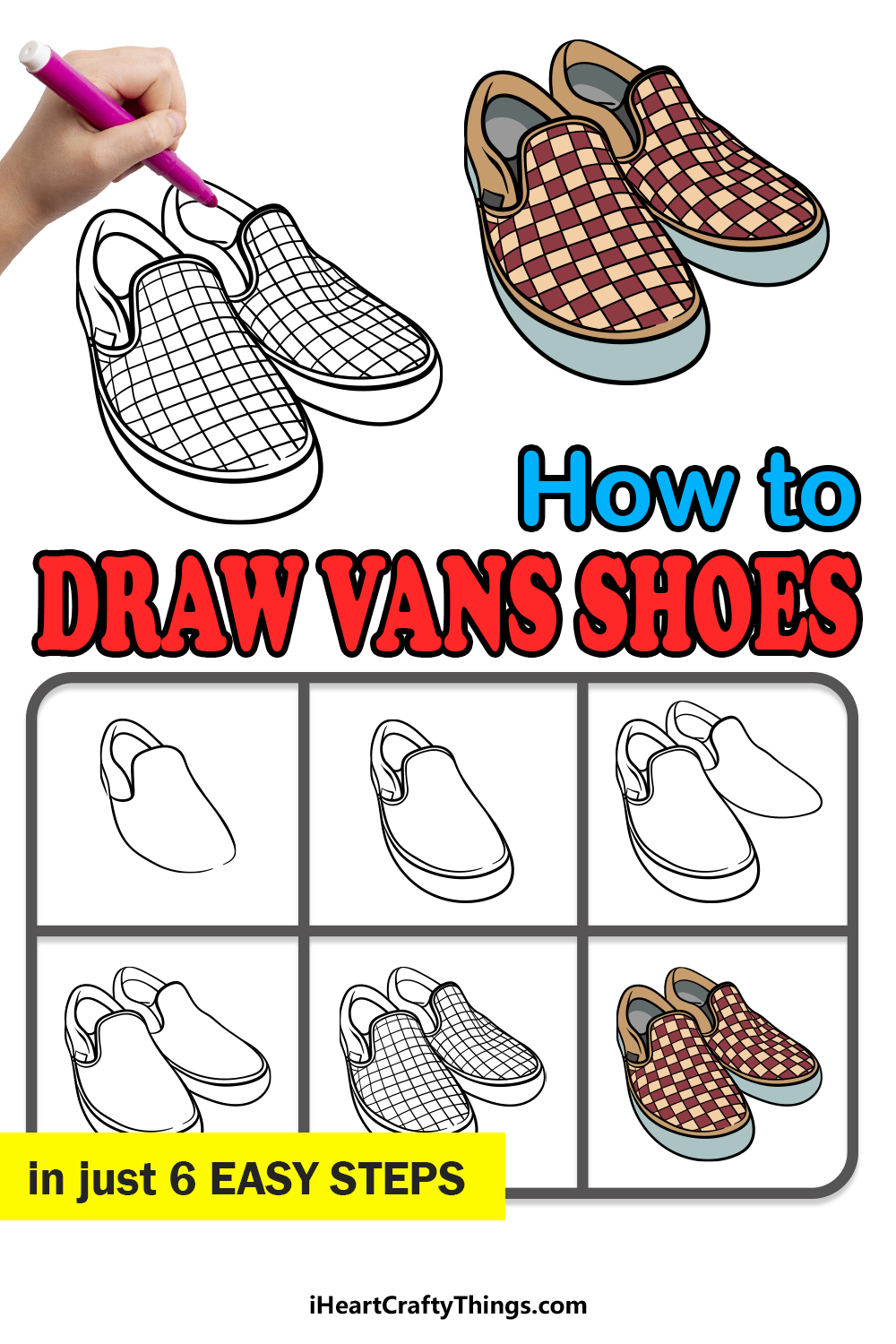 how to draw vans shoes in 6 easy steps