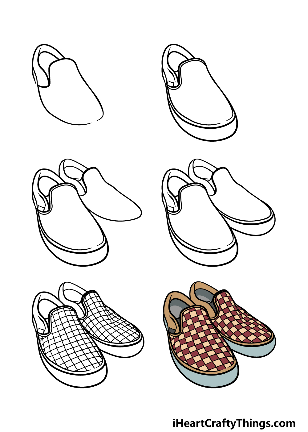 how to draw vans shoes in 6 steps