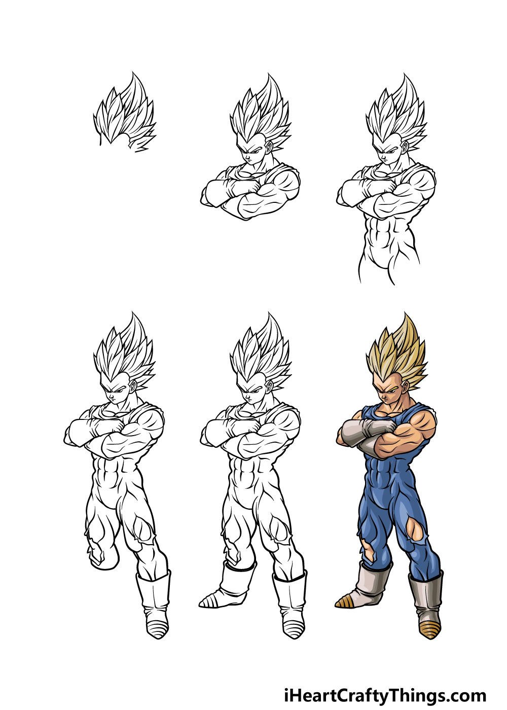 how to draw Vegeta in 6 steps
