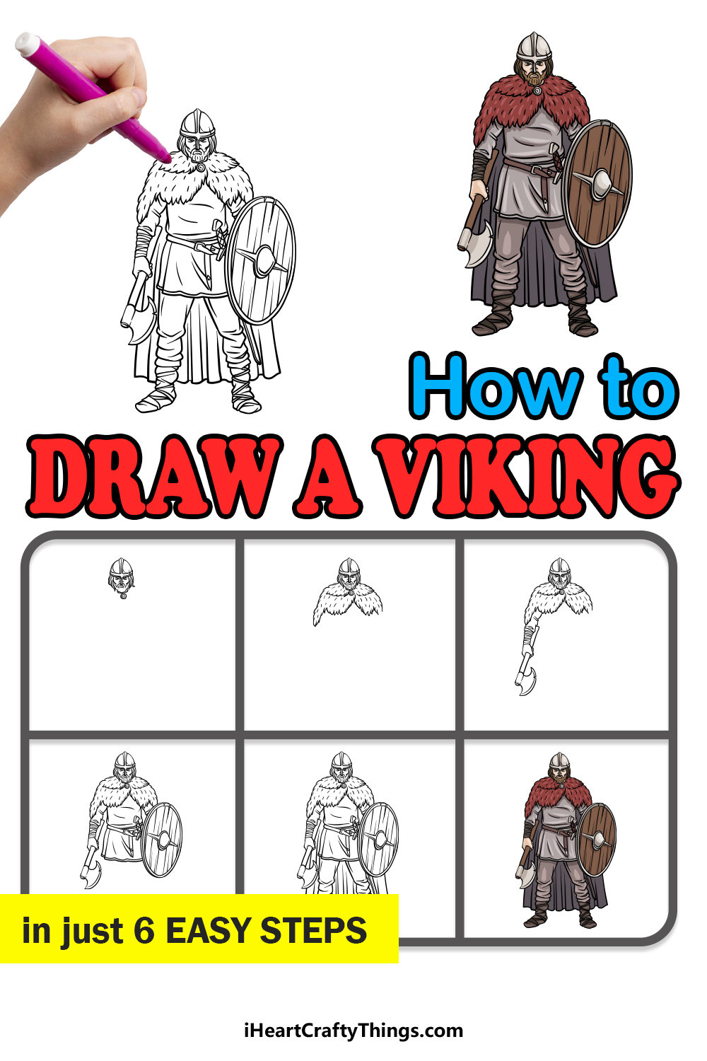 how to draw a viking in 6 easy steps