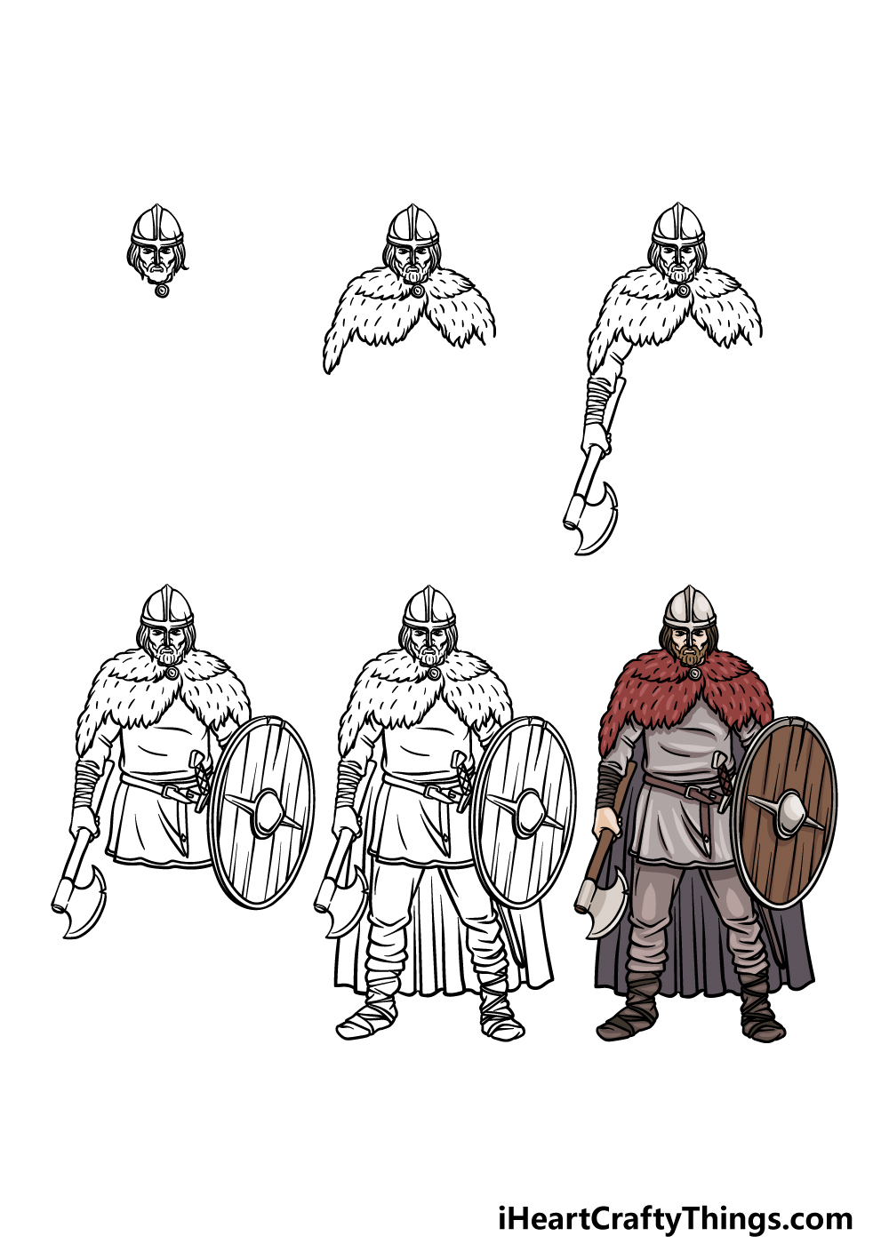 how to draw a viking in 6 steps