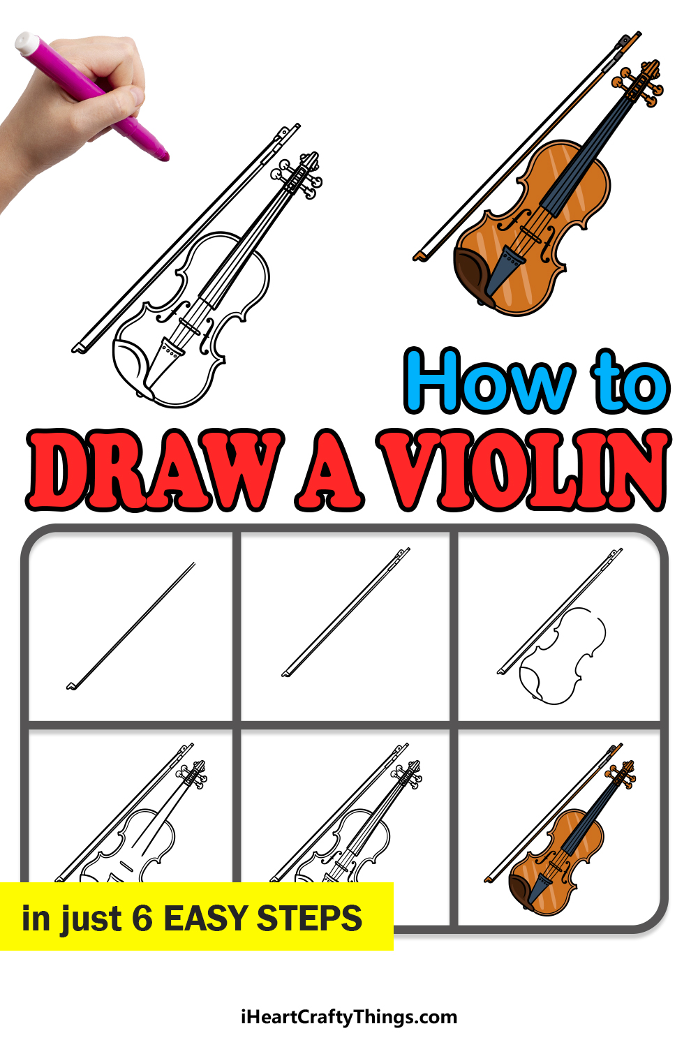 how to draw a violin in 6 easy steps