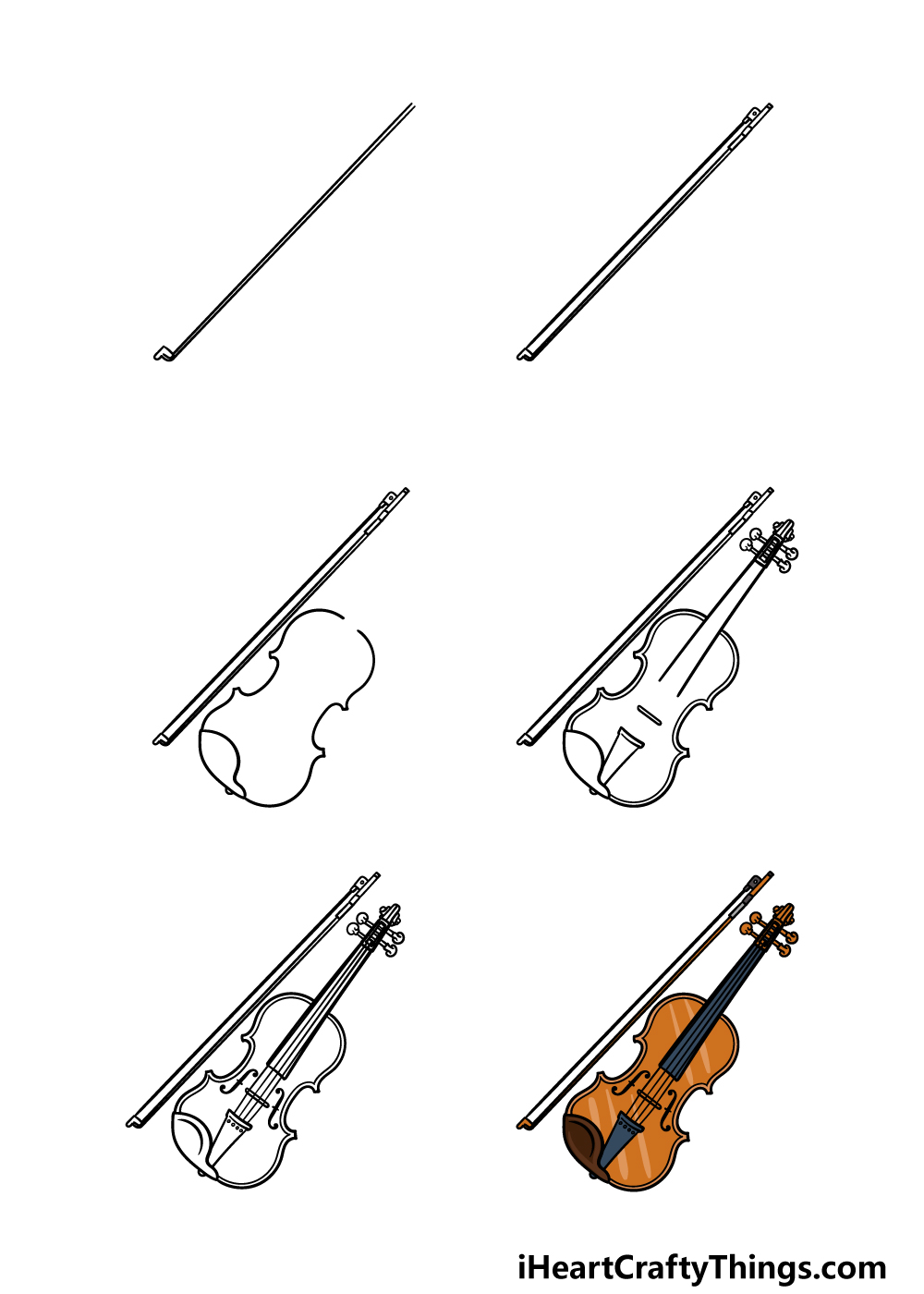 how to draw a violin in 6 steps