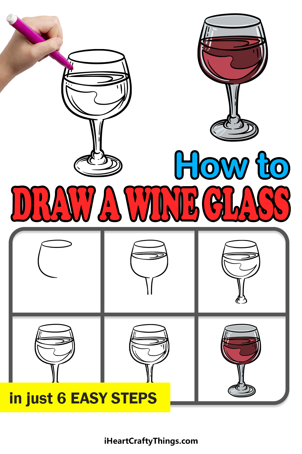 how to draw a wine glass in 6 easy steps