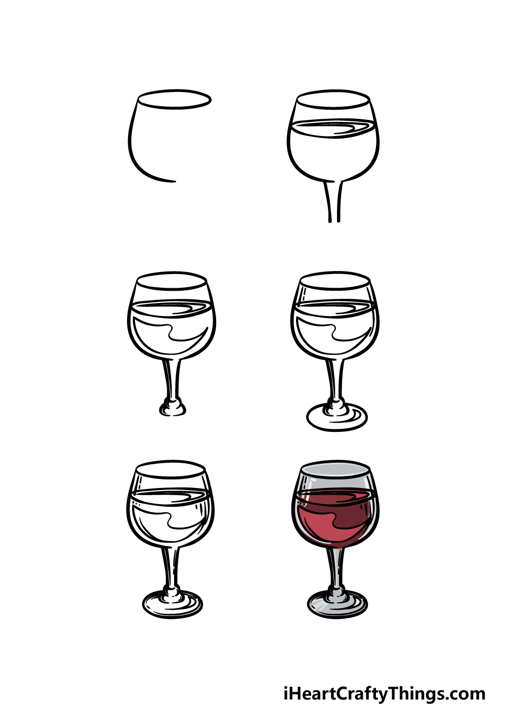 how to draw a wine glass in 6 steps