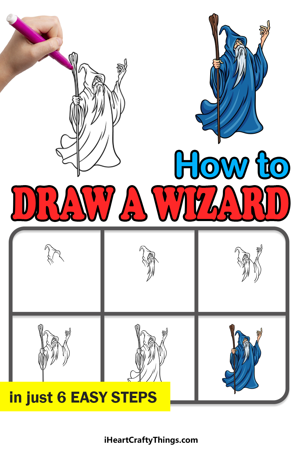 how to draw a wizard in 6 easy steps