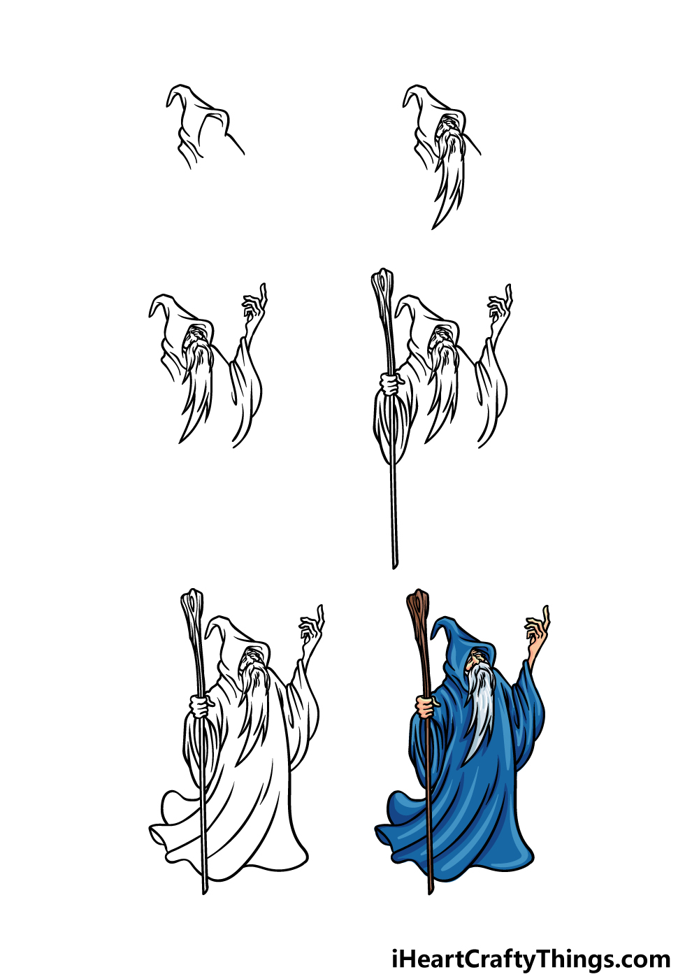 how to draw a wizard in 6 steps