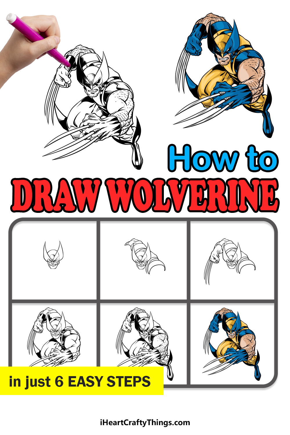 how to draw wolverine in 6 easy steps
