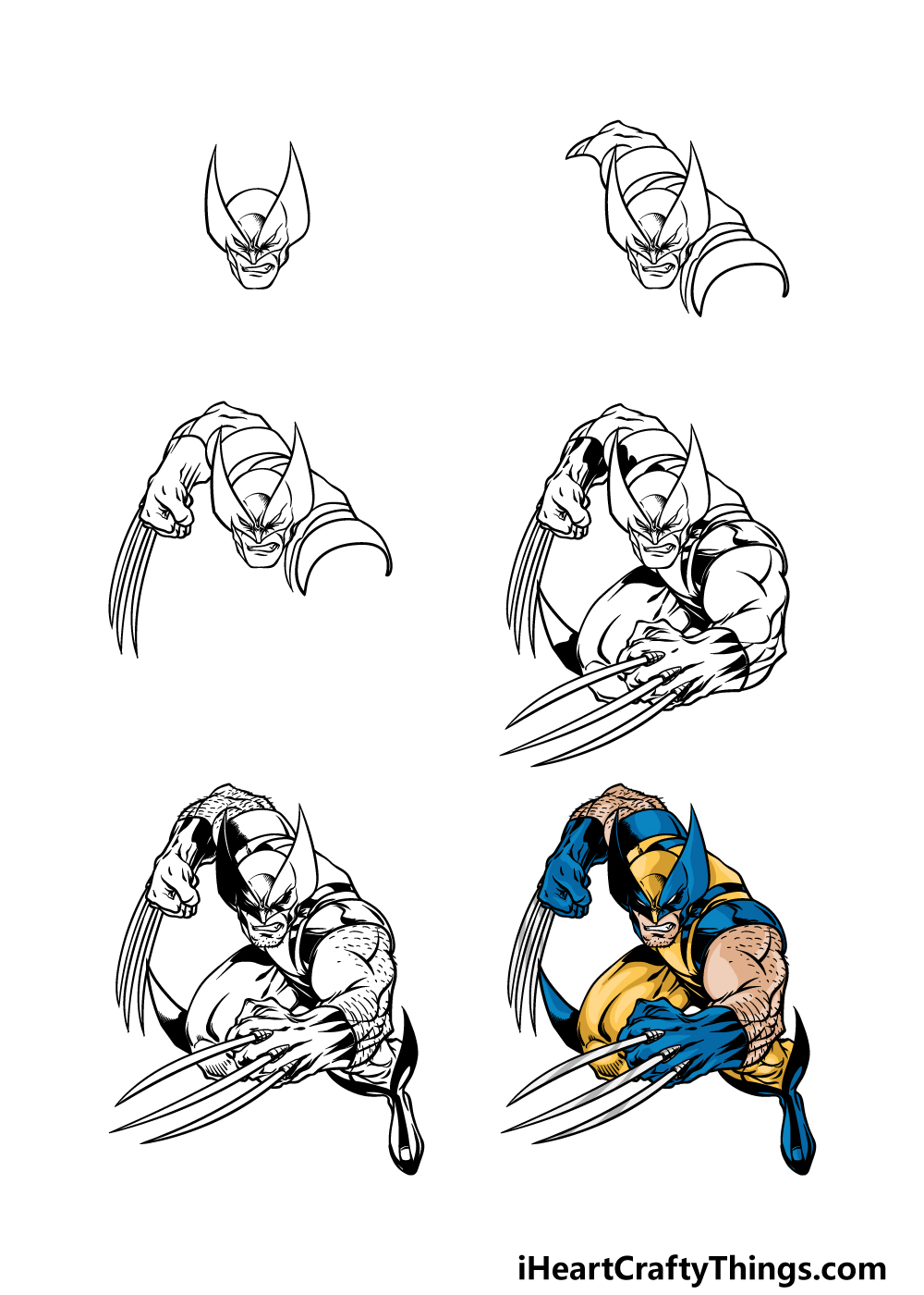 how to draw wolverine in 6 steps