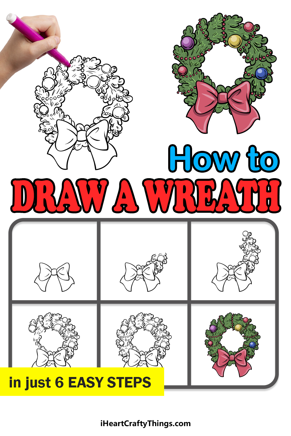 how to draw a wreath in 6 easy steps