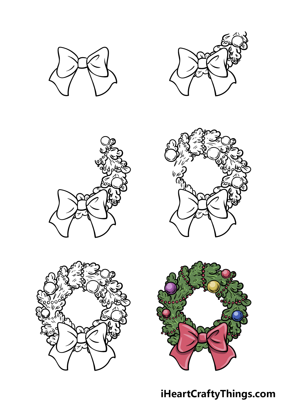 how to draw a wreath in 6 steps