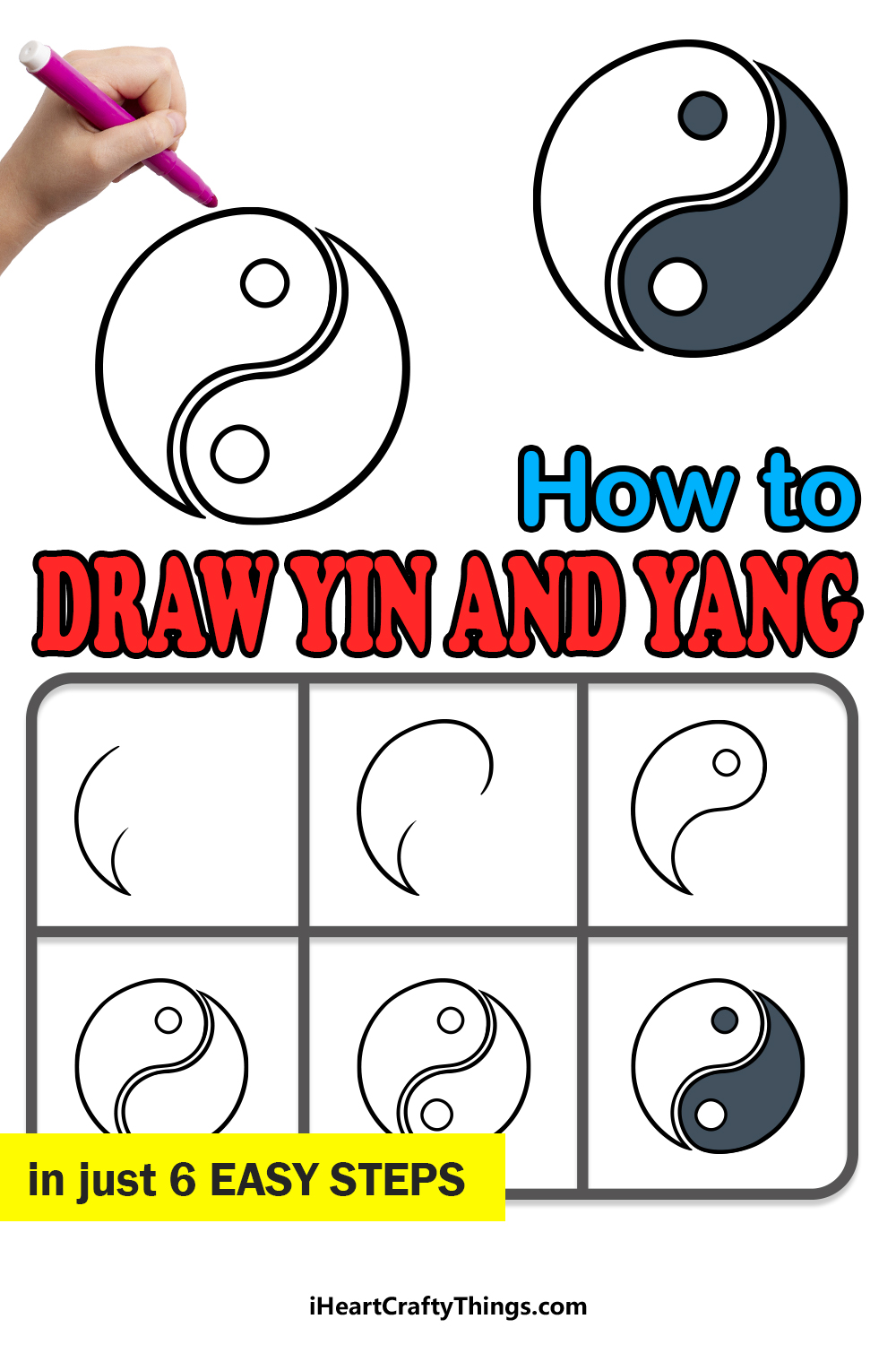 how to draw Yin and Yang in 6 easy steps