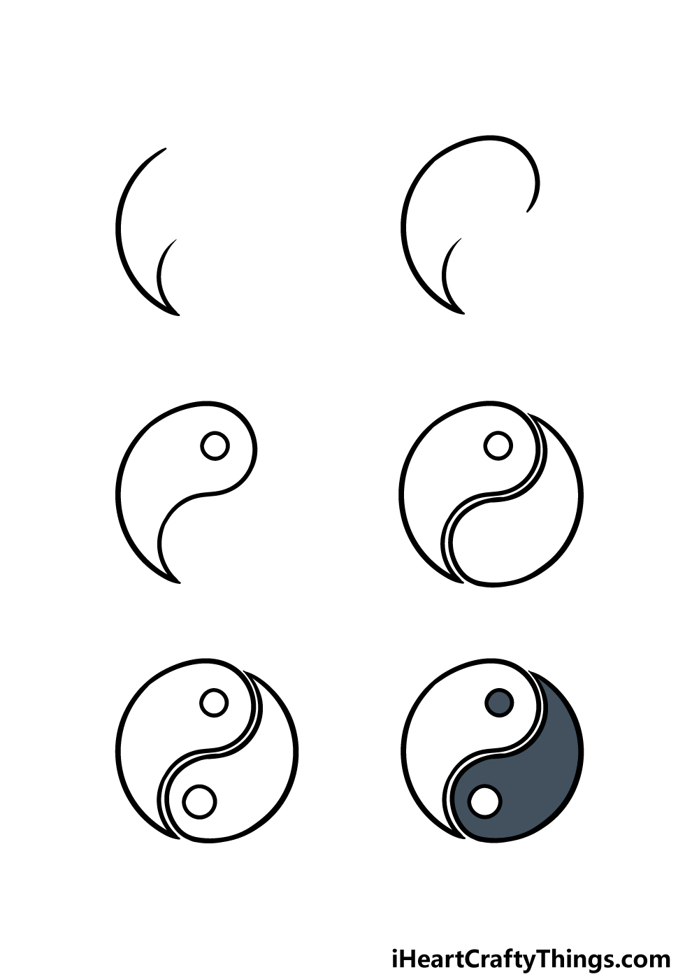 how to draw Yin and Yang in 6 steps