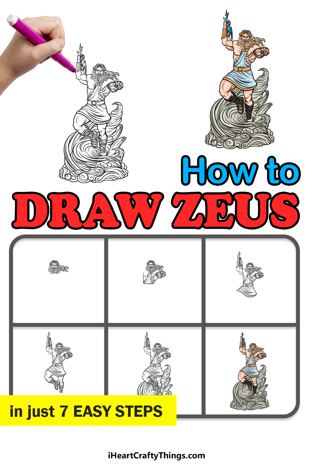how to draw Zeus in 7 easy steps